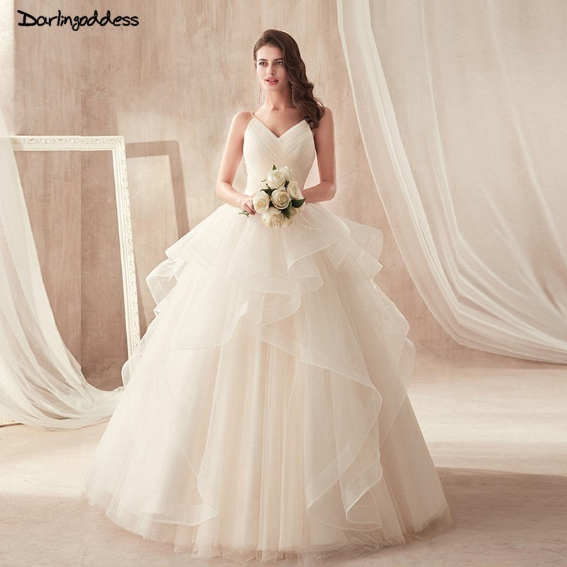 Vestido De Noiva Sexy Backless Puffy Wedding Dresses 2019 Ball Gown Princess Lace Up Wedding Gowns Spaghetti Strap Bridal Dress
