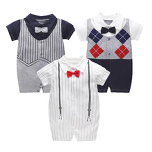 1pc Newborn baby boys wedding party tuxedo suit 0-18 months baby cotton bodysuit gentleman baby shower gift