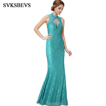 SVKSBEVS Luxury Crystal Halter Chinese Style Lace Mermaid Long Dresses Elegant Party Zipper Backless Maxi Dress