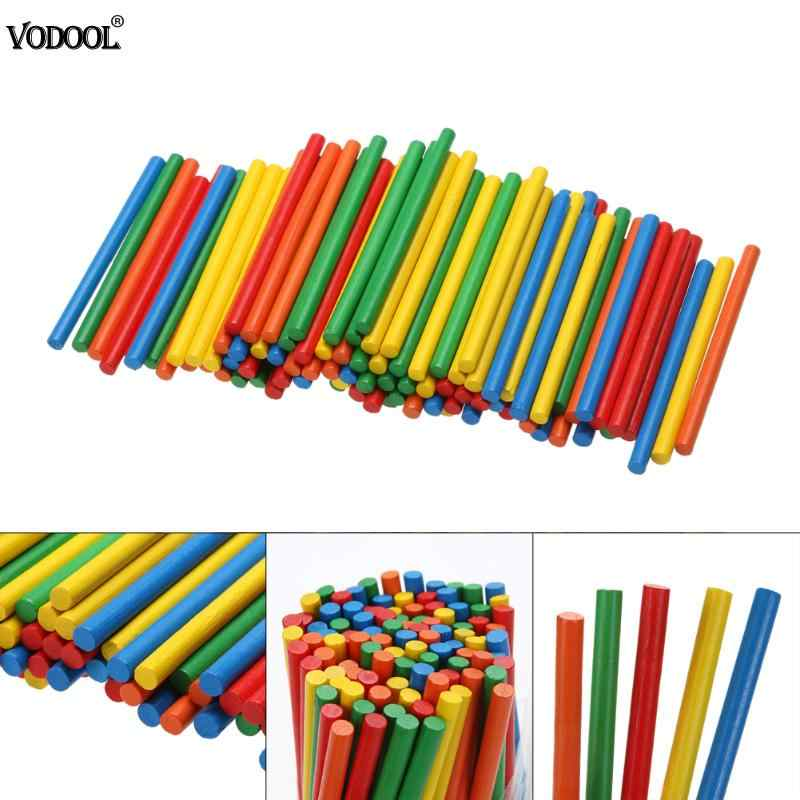 100pcs Colorful Bamboo Counting Sticks Kids Preschool Math Learning Toy