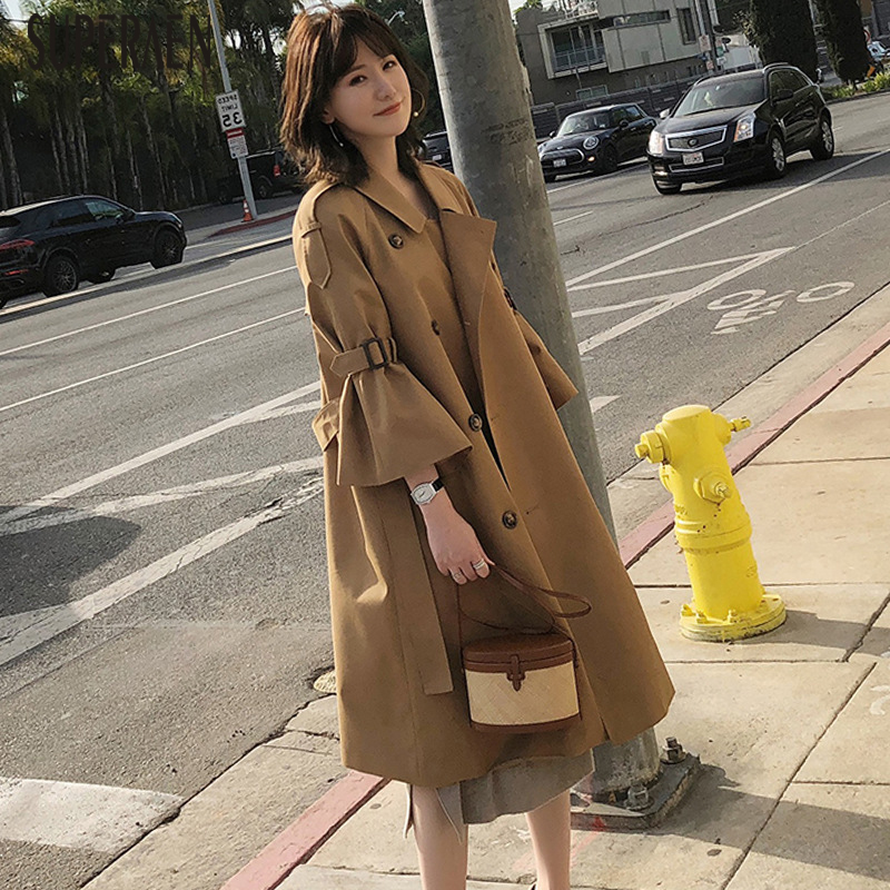 SuperAen Pluz Size   Trench   Coat for Women 2019 Autumn and Spring New Windbreaker Women Solid Color Cotton Women Clothing