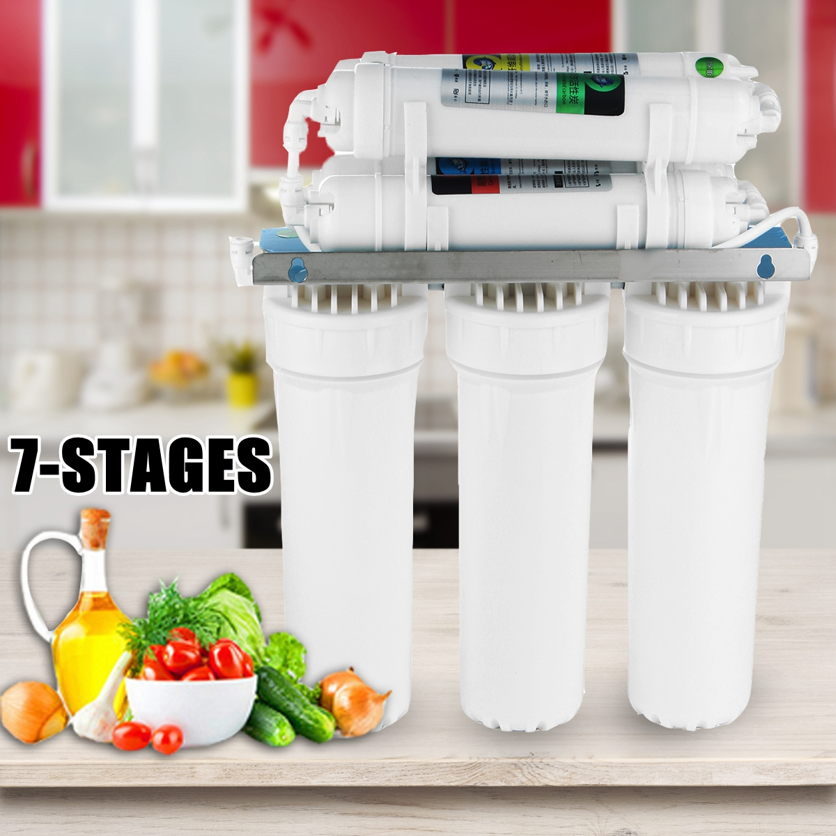 7-Stage Water Filter System Drinking Reverse Osmosis System RO Home Kitchen Purifier Water Filters With Faucet Valve Water Pipe household water filter tap connector adaptor push fit 3 4 inch bsp to 1 4 inch reverse osmosis ro white watering fitting pipe