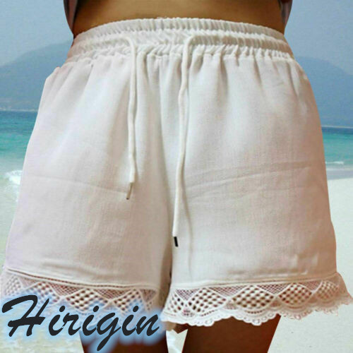 Summer Women Shorts Casual Ladies Elastic Waist Solid Hot Shorts Lace Beach Sports High Waist Loose Shorts