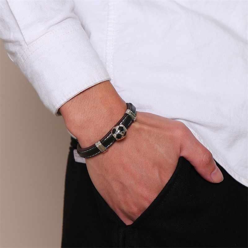 Męska piłka nożna piłka nożna bransoletka ze stali nierdzewnej z skórzany łańcuszek Link piłka nadgarstek miłośników sportu człowiek biżuteria