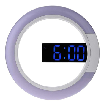 LED Reloj de pared con temperatura despertador Digital hueco en forma de anillo espejo Reloj de pared brillo ajustable 12/24 horas de tiempo