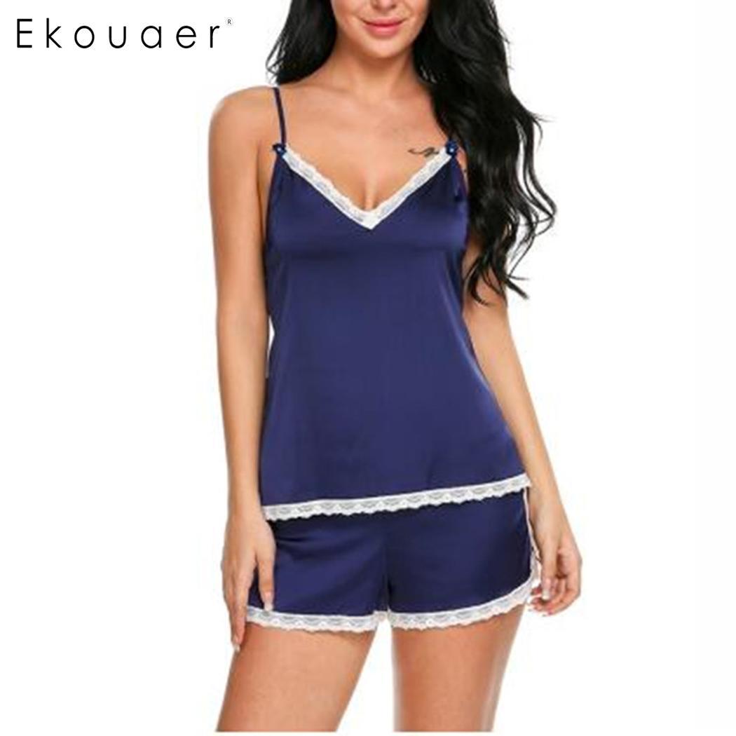 Ekouaer Women Sexy   Pajama   Suit Summer Nightwear Lace Sling V-Neck Sleeveless Cami Tops Shorts Sleepwear   Sets   Soft   Pajamas     Set
