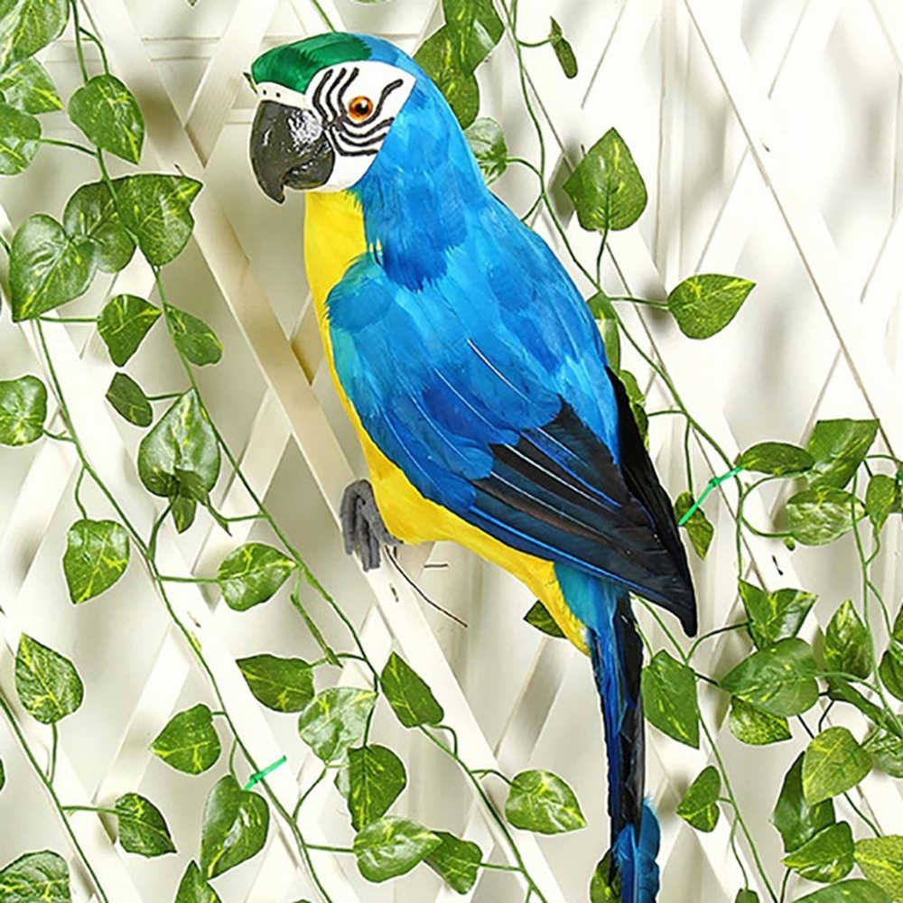 25/35cm Handmade Simulation Parrot Creative Feather Lawn Figurine Ornament Animal Bird Garden Bird Prop Decoration