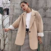 TWOTWINSTYLE Casual Women's Blazer Coat Long Sleeve Single Button Black Outcoat For Women Oversized 2018 Autumn Fashion New