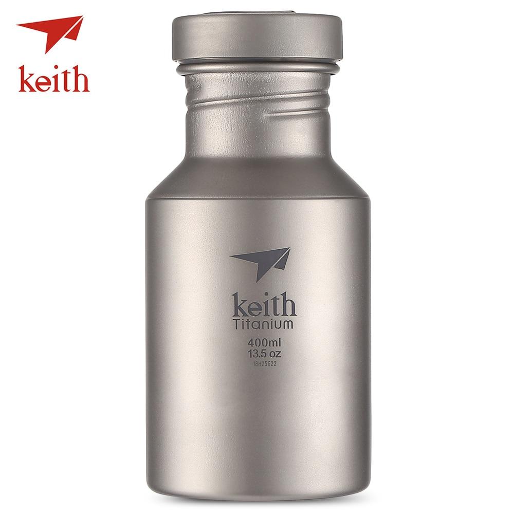 Keith Titane Pur bouteille d'eau Portable En Plein Air Vaisselle Ultra-Léger 400 ML Pur Titane bouteille d'eau Avec Couverture De Tissu