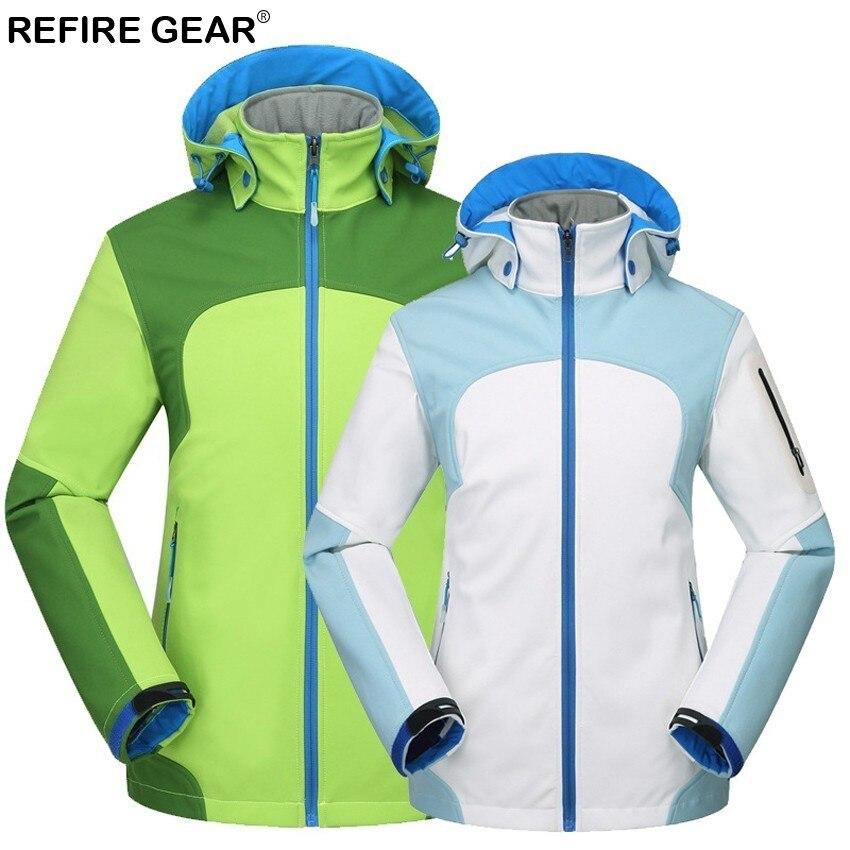 Refire Équipement De Plein Air Femmes de Randonnée Vestes Imperméable Coupe-Vent Thermique Veste Softshell Pour Camping Ski Chaud Épais Manteaux