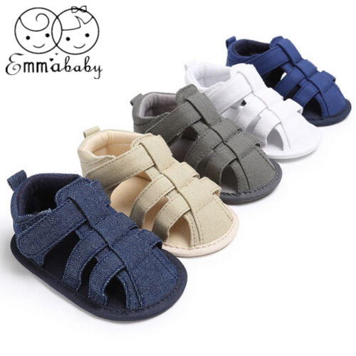 2019 Emmababy New Toddler Kids Baby Boys Canvas Soft Sole Crib Sneakers Newborn Sandals Shoes