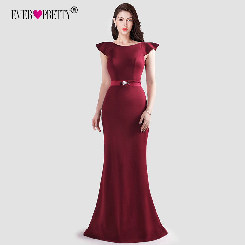 Burgundy   Evening     Dresses   Ever Pretty Elegant Mermaid Sleeveless Long Party Gowns With Ruffles New Year Vestido Sexy Fiesta Noche