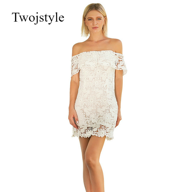 twojstyle sexy white lace off shoulder ruffles dress 2018