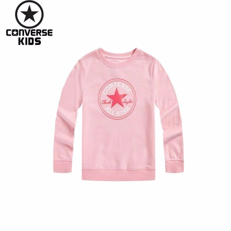CONVERSE Children's Garment Classic Fund Round Neck Pullover Sweater Pullover Unlined Garment #81122HO590 beige round neck love patchwork sweater