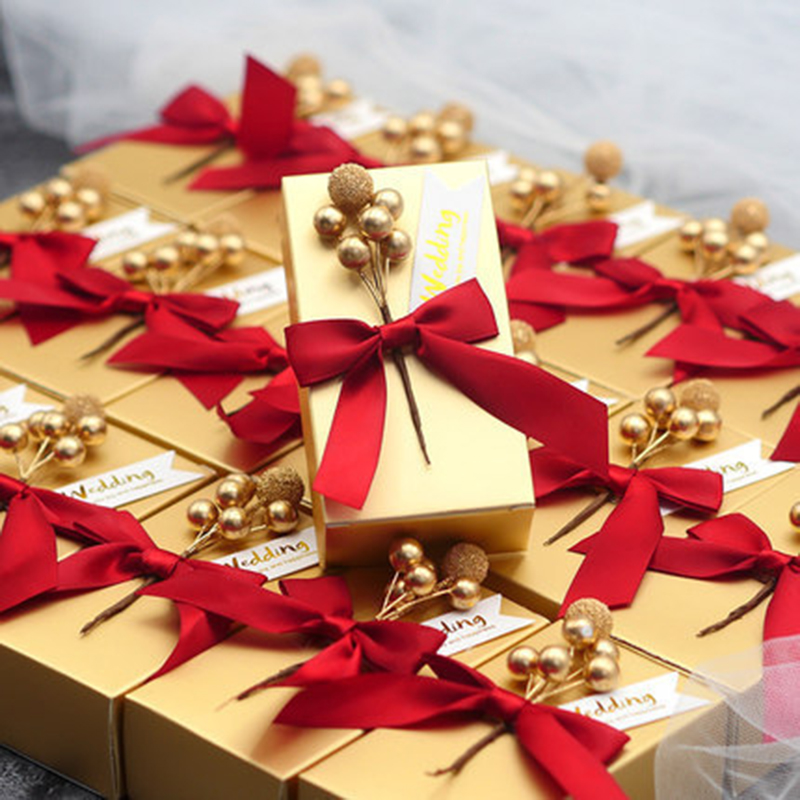 10pcs Luxury Gold Red Kraft Paper Gift Box With Pear Flower Package Wedding Party Favor Candy Boxes With Ribbon Guests Favors