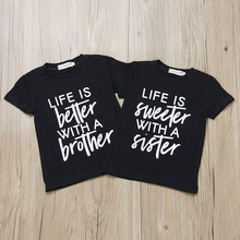46f7c956 Toddler Kids Boys Girls Clothes Short Sleeve T-Shirts Funny Saying Letters  Print Tops Brother
