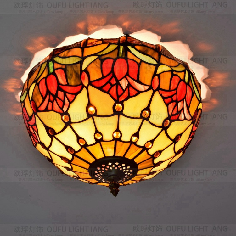 American Pastoral tulip red wedding bedroom balcony restaurant entrance Lobby decorated ceiling lamps stained glass 110-240V American Pastoral tulip red wedding bedroom balcony restaurant entrance Lobby decorated ceiling lamps stained glass 110-240V