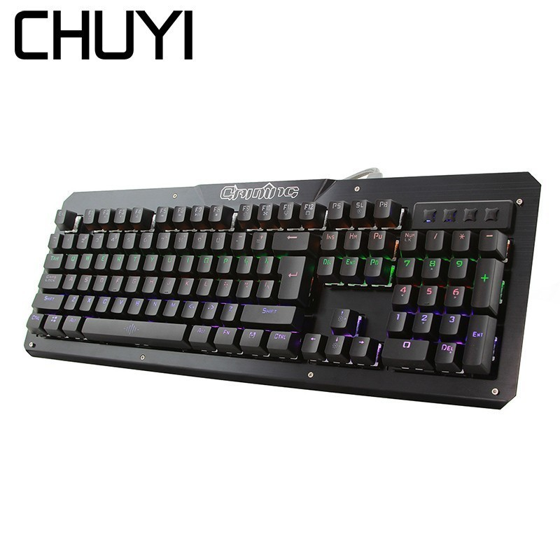 CHUYI Wired Computer Gaming Keyboard LED Backlit with Blue Switches 104 Keys Mechanical Gamer Keyboard For Laptop Desktop landas usb wired mechanical keyboard for gamer led cool backlight keyboard game gaming with blue switches for windows xp 7 8 10