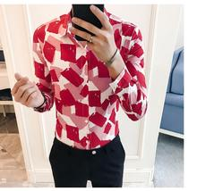 Floral Blouse Men Color blocks Flower Long-sleeved Shirt New model Shirts Fashion camisa social