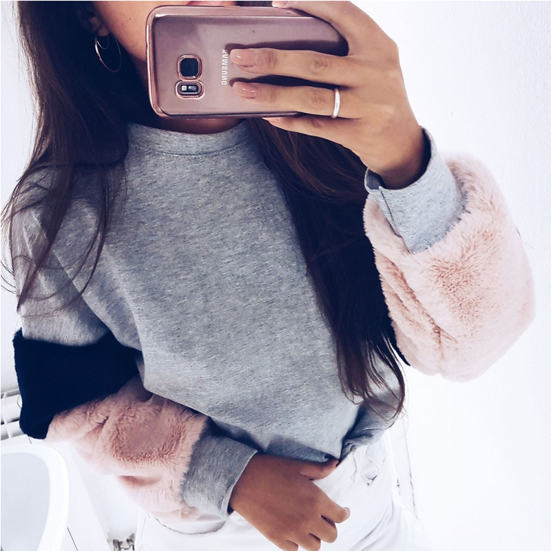 Casual Women Pullover Jumper Long Sleeve Patchwork Plush Sweatshirts Coat Sweatshirt Tops New