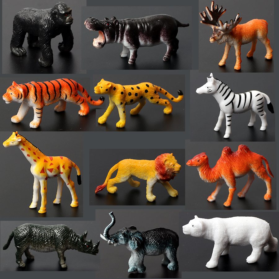 Toys Action-Figure Animal-Model Tiger Giraffe Plastic Elephant Early-Education Doll Lion