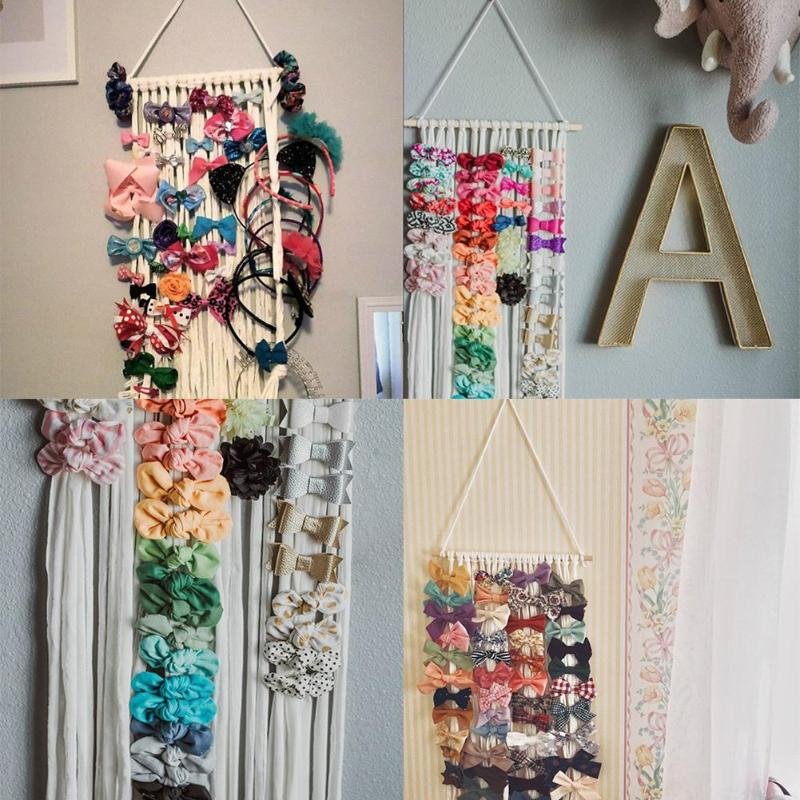 Baby Girls Hair Clip Hairpin Storage Belt Kid Hairband Barrettes Hanging Ornaments Hanging Hair Clips Holder For Children's Room
