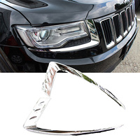 1 pair Silver Chrome Car Left Right Front Headlight Lamp Frame Cover Trim for Jeep Grand Cherokee 2014 2016 Car accessories