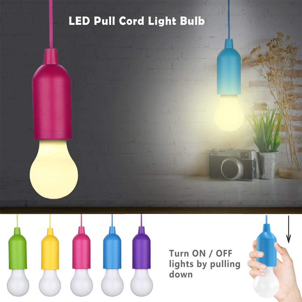 5Pcs Portable LED Colorful Light Bulb Chandelier Pull Cord Light Bulb Outdoor Garden Party Wedding Hanging LED Light Lamp