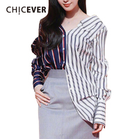 CHICEVER Sexy Off Shoulder Striped Female T shirts For Women Tops loose Casual Summer Women's T shirt Clothes Fashion New 2018