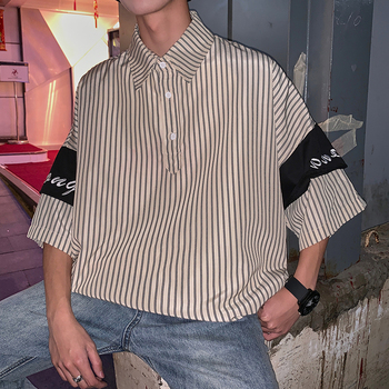 Summer New Dress Shirt Men Fashion Striped Breathable Casual Man Streetwear Trend Wild Loose Seven-point Sleeve