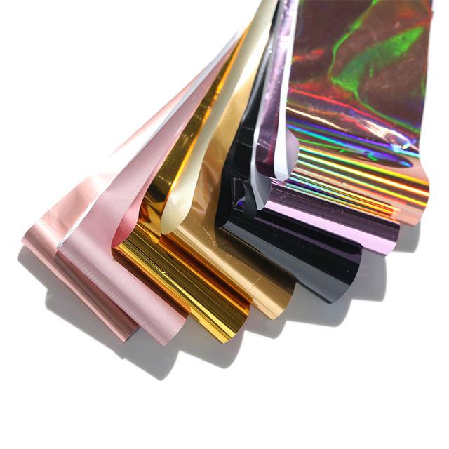 7 Colors/kit Nail Foils AB Colors Holographic Laser Flakes Shiny Transfer Sticker Nail Art Decoration Manicure Design Tip
