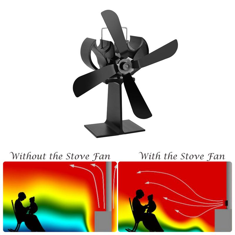 4 Blades Heat Powered Eco Stove Fan(Black) Increase More 80% Warm Air Than 2 Blade Stove Fan For Wood/log Burner /fireplace free shipping cheap heat powered stove fan in black gold silver coppery blade