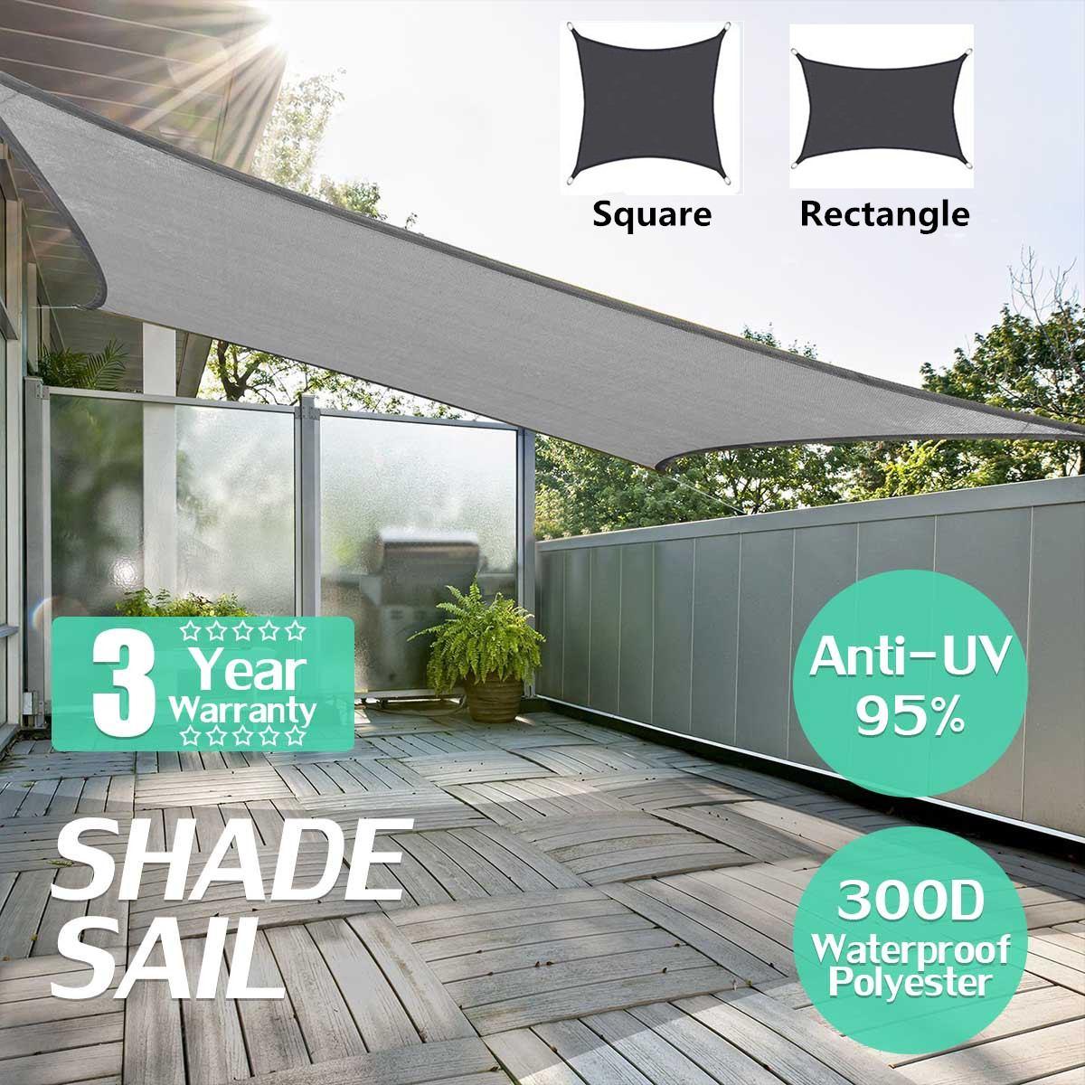 Waterproof 300D Black Square Rectangle Shade Sail Garden Terrace Canopy Swimming Sun Shade Camping Hiking Yard Sail Awnings