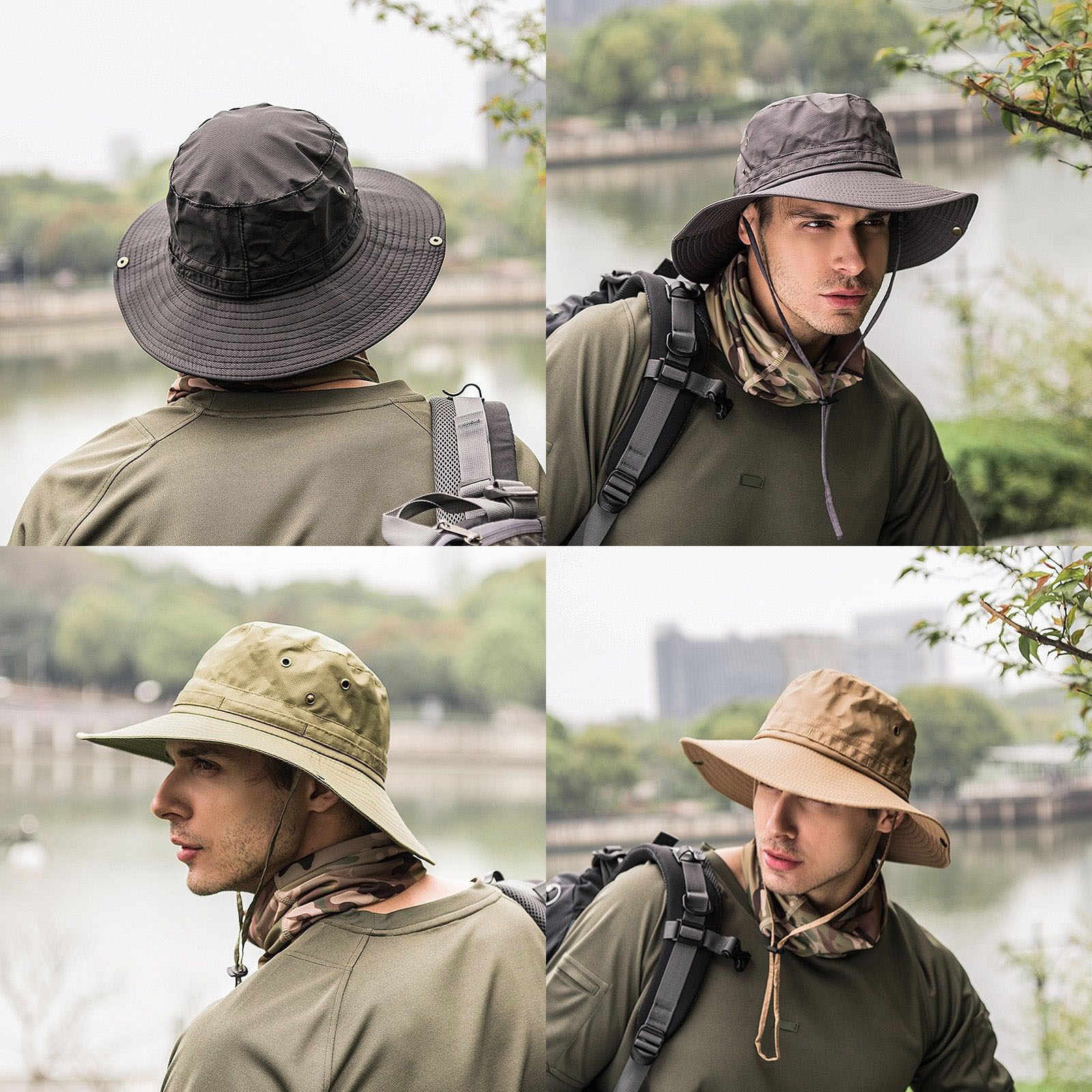 a01926e1 New Hot Boonie Bucket Hat Fisherman Wide Brim Safari Cap Pure Cap Unisex Sun  Hats Lace