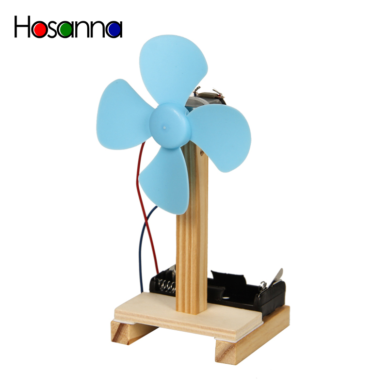 Kids STEM Science Toys Mini Electric Fan DIY Model Kit Wooden Primary Students Learning Physics Educational Toys For Children