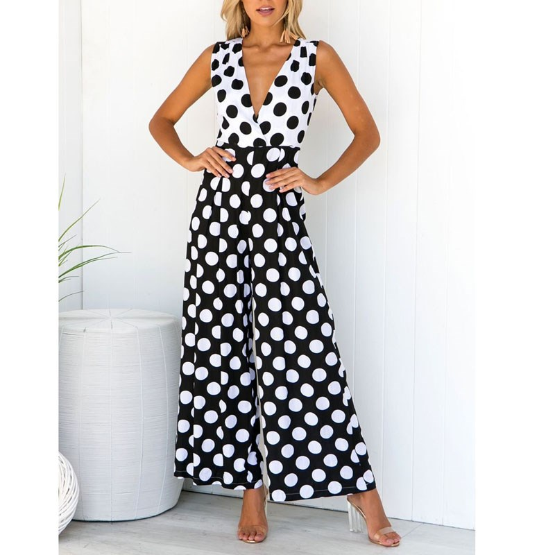 Sexy Polka Dot Printed   Jumpsuit   V-Neck Wide Leg Pants Loose Long Bodycon   Jumpsuit   Romper High Waist Casual Sleeveless Overalls