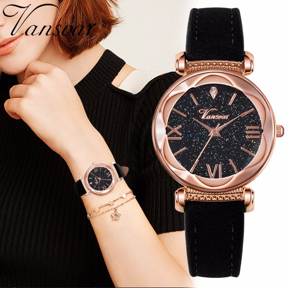 Best Selling Women Starry Sky Watch Casual Luxury Rose Gold Flower Surface Leather Quartz Clock Watches Reloj Mujer DropshippingBest Selling Women Starry Sky Watch Casual Luxury Rose Gold Flower Surface Leather Quartz Clock Watches Reloj Mujer Dropshipping