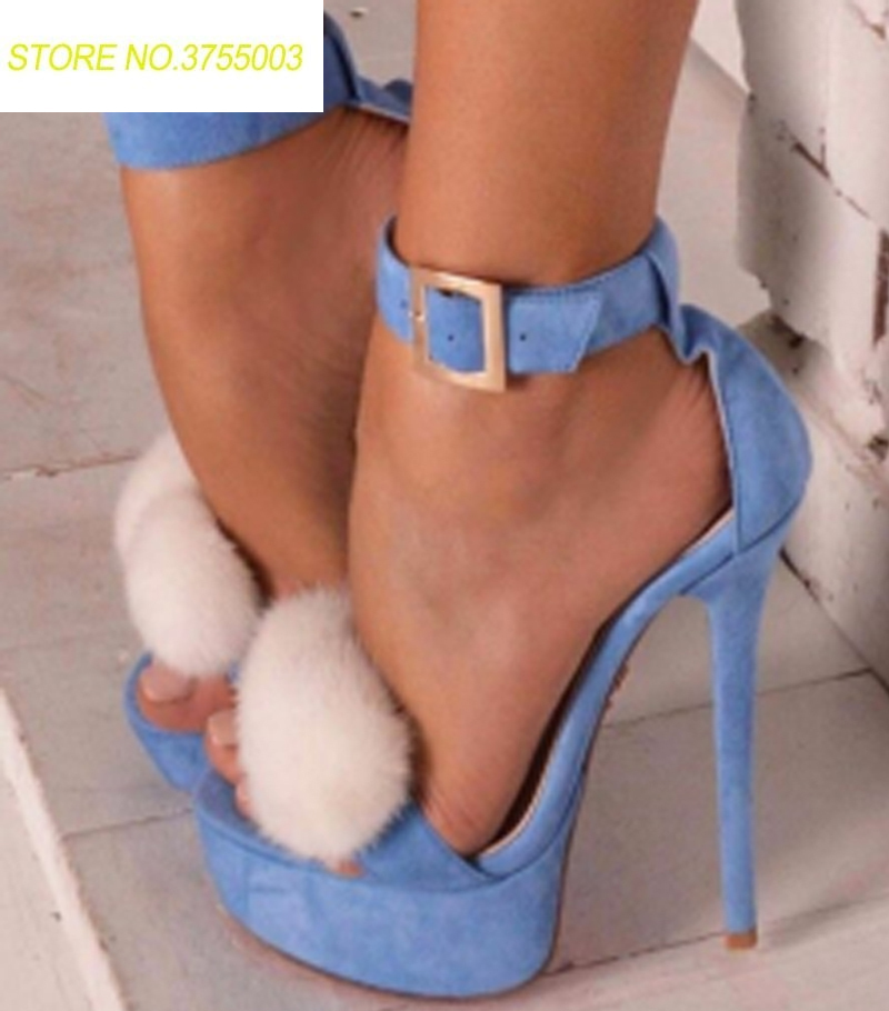 Summer platform Blue Suede Women White Fur Thin High Heels Ankle Strap Style Ladies Sandals Lace Up Female Party StilettoSummer platform Blue Suede Women White Fur Thin High Heels Ankle Strap Style Ladies Sandals Lace Up Female Party Stiletto