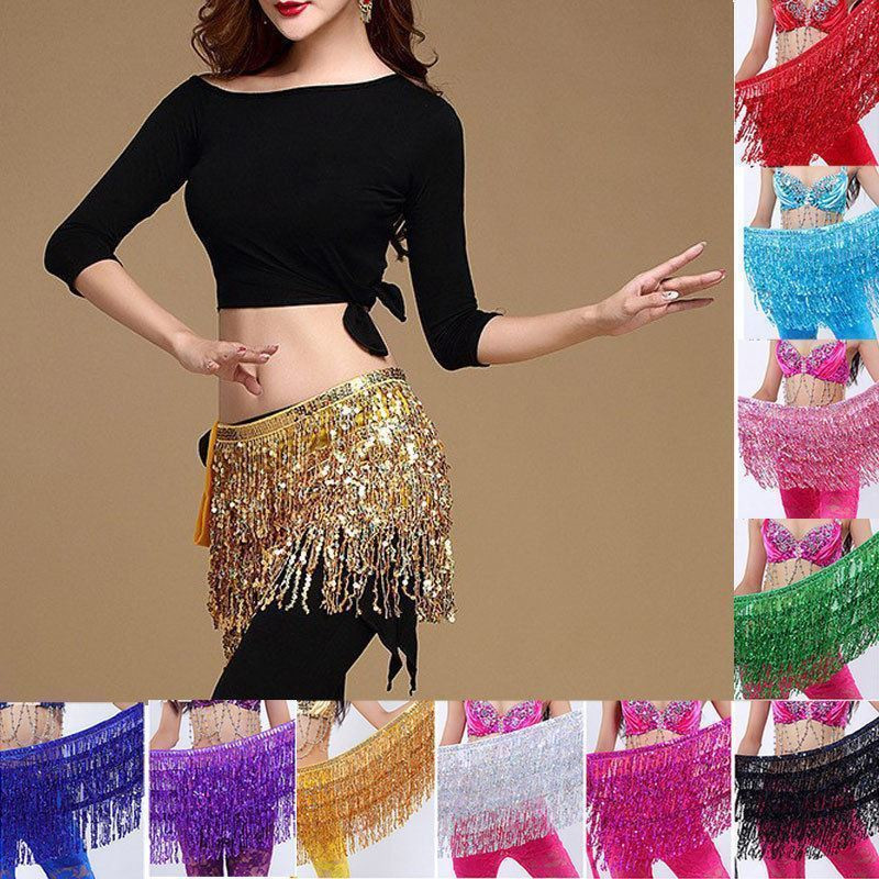 2020 Fashion Belly Dance Costumes Hip Scarf Wrap Belt Skirt Sequins e Clothes Accessories Women Sexy Stage Show Skirts