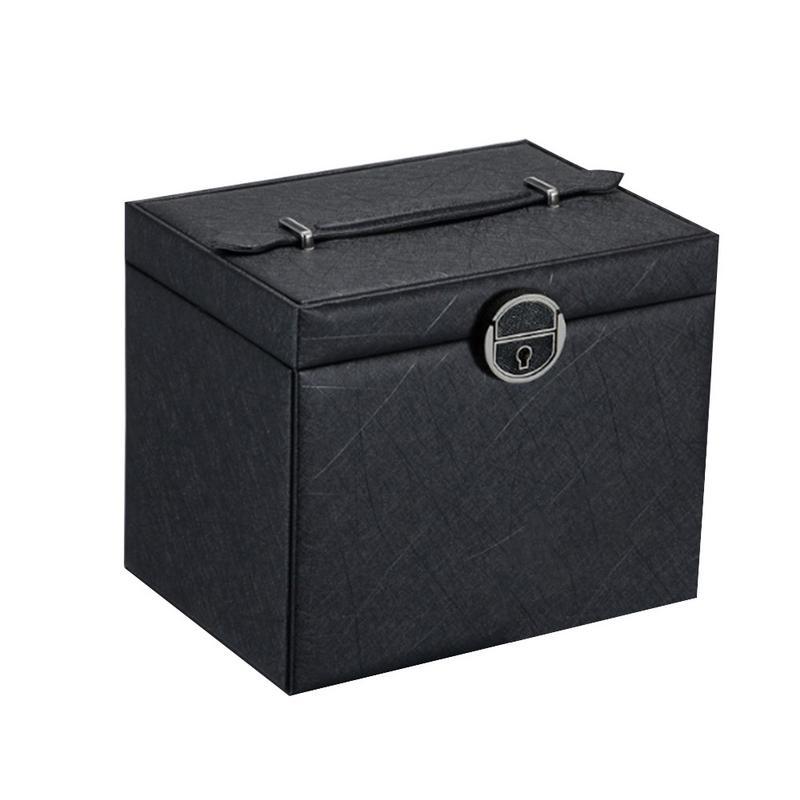Caja de almacenamiento de joyería de gran capacidad de 5 capas de cuero multifuncional cosméticos mujeres joyería anillo collar pendiente caja de almacenamiento - 3