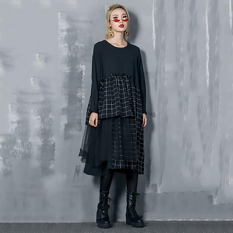 Rayé Longues Robes Ruches Jo290 Col Femmes Black Manches Nouveau Shengpalae Rond À Lâche Printemps 2019 Mode Noir Couture 4qPaawpz