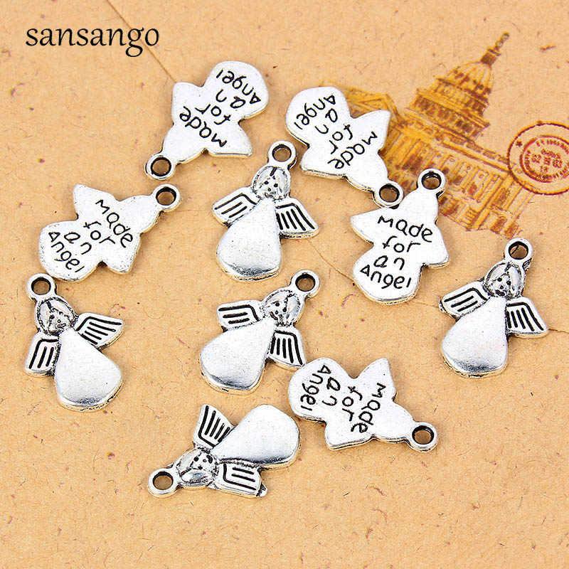 10 Uds. Joyería tibetana de Ángel de plata DIY hecha a mano, abalorios, colgantes, pulsera, collar, pendientes, llaveros, 17*12mm