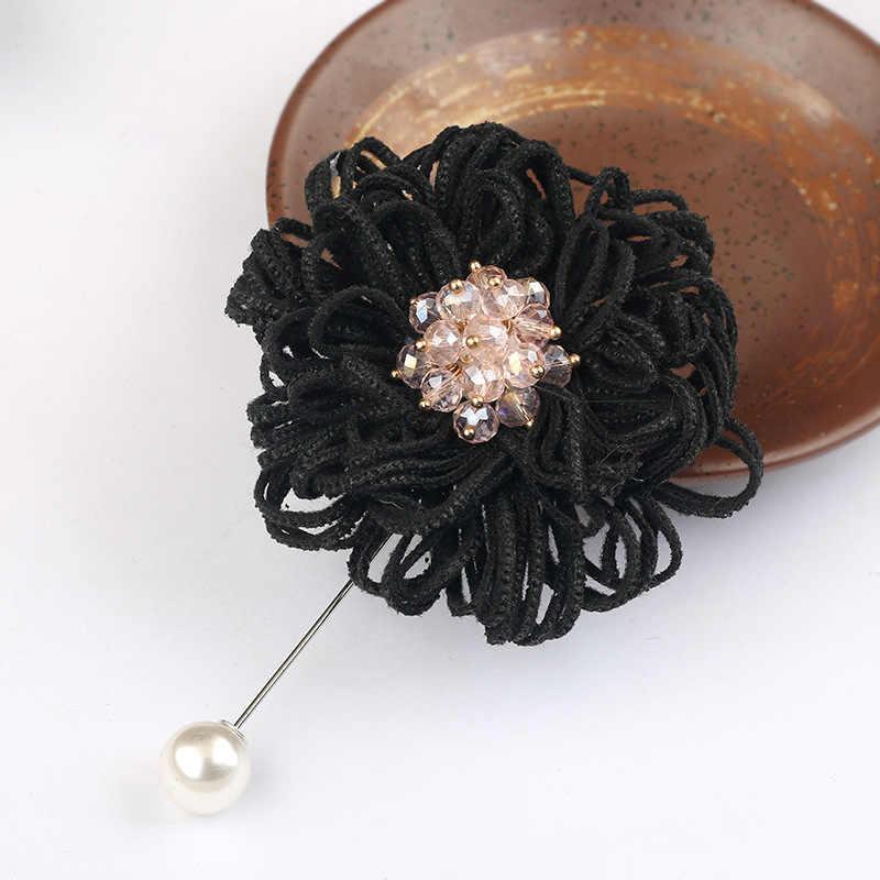 Модная шелковая ткань искусство брошь декольте длинные иглы Броши Кристалл Роза цветок пальто Свадебные нагрудные булавки женские аксессуары