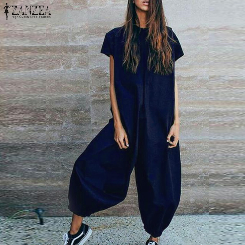 Jumpsuit   ZANZEA Long   Jumpsuits   Women Long Pants Casual Overalls Combinaison Femme Elegant Solid Macacao Ladies Mono Plus Size
