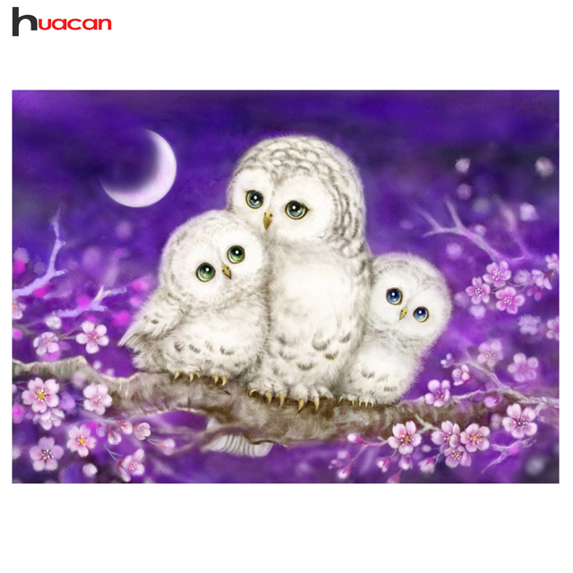 Huacan Full Lovely Owl Diamond Painting Mosaic Bedroom Decor Rubik S Cube Round Embroidery Cross Sch