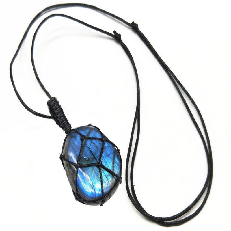 1 Pcs Natürliche Herz Anhänger Labradorit Halskette Edelstein Mondstein Handwerk Wrap Braid Macrame Hängen Ornament Für Männer Frauen Starker Widerstand Gegen Hitze Und Starkes Tragen