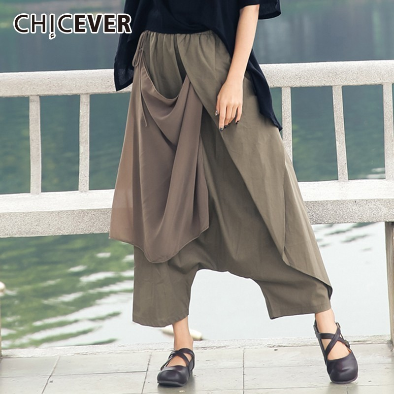 CHICEVER 2018 Autumn Cotton Linen Women's   Pants   Female Elastic High Waist Bow Lace Up Loose Oversize   Wide     Leg     Pant   Clothes New