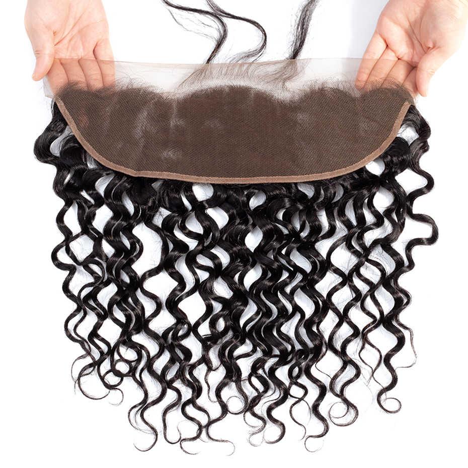 Шикарные бразильские волнистые волосы, пучки с закрытием, 13x4, кружевные фронтальные Человеческие волосы Remy, пучки с 4x4, 5x5, кружевное закрытие