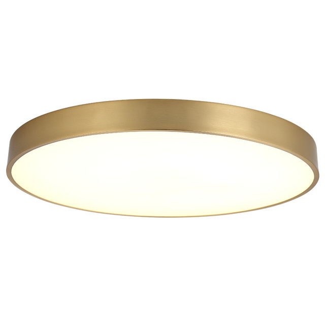 Lukloy American Copper LED Ceiling Lamp Round Ultra-Thin LED Balcony Lamp Aisle Modern Minimalist Creative Personality Lights