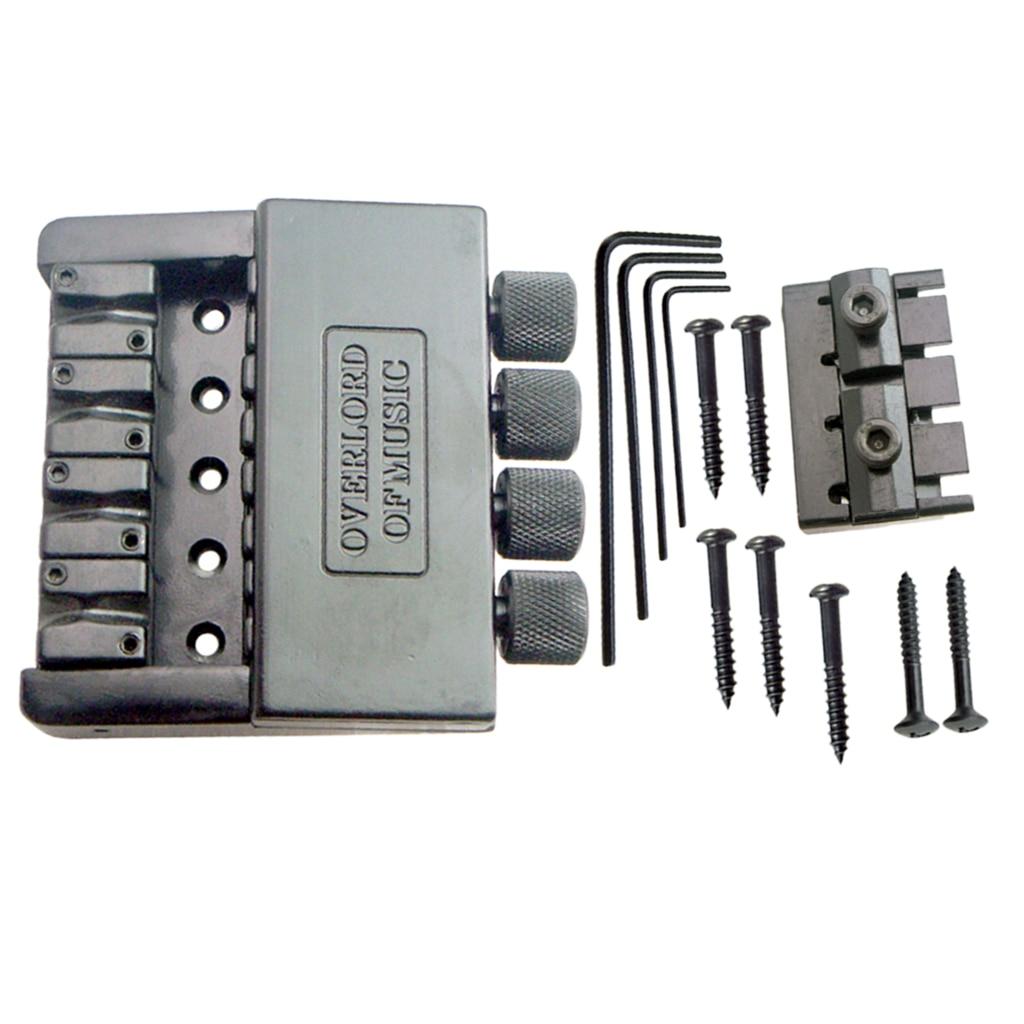 Noir 4 cordes basse cordier pont système selle sans tête basse électrique pièces accessoire